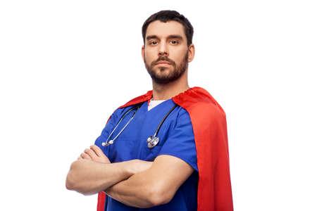 doctor or male nurse in superhero cape 스톡 콘텐츠