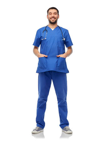 smiling doctor or male nurse with stethoscope 스톡 콘텐츠