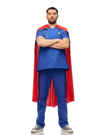 doctor or male nurse in superhero cape Standard-Bild