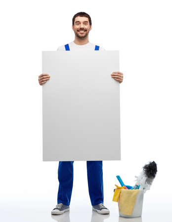 male cleaner with cleaning stuff and white board