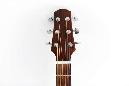 close up of acoustic guitar head with pegs Standard-Bild