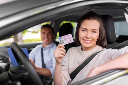 car driving instructor and driver with license
