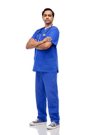 indian doctor or male nurse in blue uniform