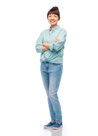 happy asian woman with crossed arms