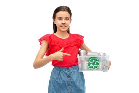 smiling girl sorting metallic waste Stock Photo