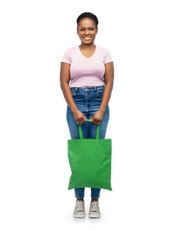 woman with reusable canvas bag for food shopping Stock Photo