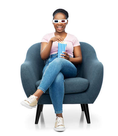 woman in 3d movie glasses eating popcorn in chair