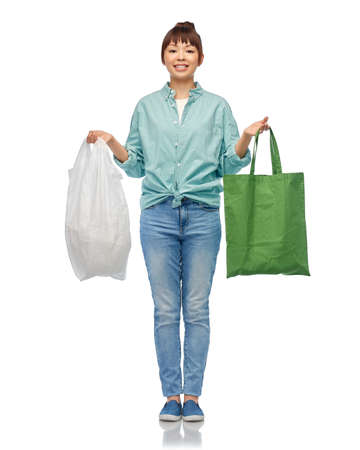 woman with plastic and reusable shopping bag