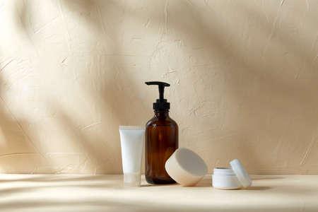 shower gel, soap, moisturizer and body scrub