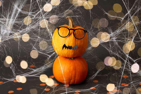 halloween pumpkins with glasses, bat and spiderweb