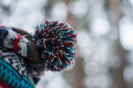 pompon: Colourful and bright pompon of hat.  Close-up lenses. Stock Photo