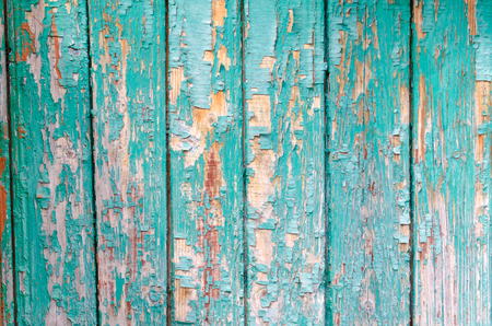 Turquoise paint cracks wood texture Stock Photo