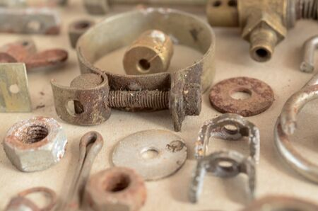 old rustry screw,nuts and bolt with vintage style, close up