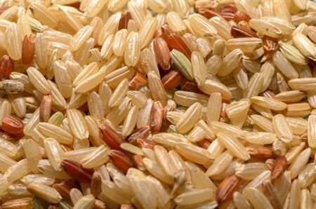 brown and red rice close-up, healthy eating concept, food background.