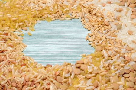 mix of various types of cereals and grain with space for text Stock fotó