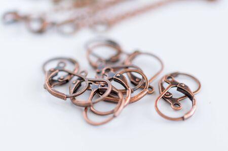 Macro view copper earring hooks. Craft supplies