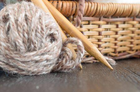 Crochet and knitting set. Yarn balls and wood needles. Homemade hobby concept Stok Fotoğraf