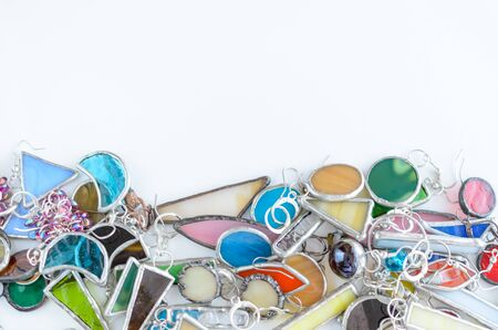 Assorted jewelry background with copy space for text. Fashion accessories shopping concept.