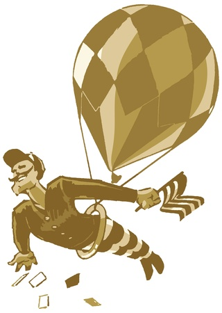 Why it s a rather dashing chap with a handlebar mustache, swinging from a trapeze under a balloon  From his hand he drops favors to the crowds below  Very sporting of him  Ilustração