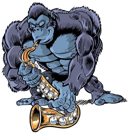 Zoals de titel al zegt, zijn A Gespierde Cartoon gorilla speelt een saxofoon Hij ziet er echt erin Maakt een leuke toevoeging aan een dier of muziek themed stukje communicatie De zwarte kleur is op een aparte laag voor eenvoudige bewerking