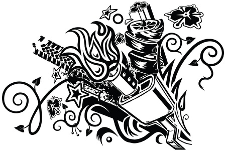 An eclectic tattoo-like graphic element featuring a car muffler as well as assorted floral, botanical, tribal, automotive, splatter, flame, and geometric elements  Vector