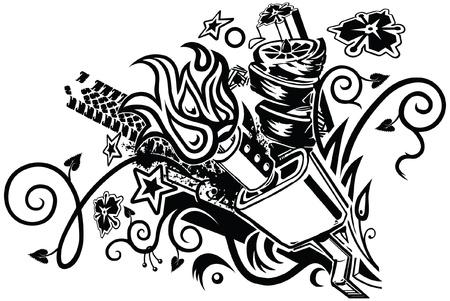Een eclectische tattoo-achtige grafische element met een auto bokshandschoen evenals diverse bloemen, botanisch, stammen, automotive, ploeter, vlam, en geometrische elementen