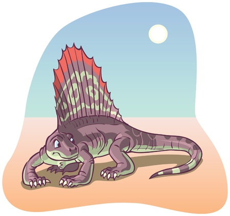 prehistoric era: A Dimetrodon Dinosaur under a desert sun rendered in a cartoon style  All colors are in-gamut RGB  Background is on a separate layer  Illustration