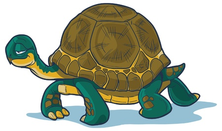 Cartoon tortoise walking forward with a slow, steady gait  Great for illustrating concepts about steadfastness, racing with hares, or just plain old slowness  Illustration