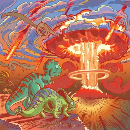 Een Cartoon Tyrannosaurus en Triceratops, een keer doodsvijanden, gesp hun staart in een last-minute weergave van vriendschap en verzoening als ze beseffen de zinloosheid van hun voortdurende conflict in het gezicht van naderend onheil Stock Illustratie
