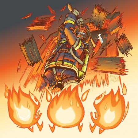 anthropomorphic: Illustration of a very intimidating firefighter crashing through a door and brandishing a fire axe, much to the dismay of three hapless anthropomorphic cartoon flames  Heeere s Johnny  Illustration