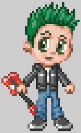 manga style: A punk rocker boy illustrated in an anime or manga style, rendered as pixel art  in vector art blocks
