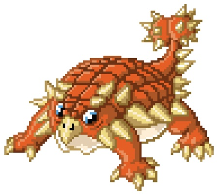 horned: A cute pixel art ankylosaurus stands in a battle-ready pose  Created in the 8-bit 16-bit art style of video games from the 80 s and 90 s  The pixel blocks are individually editable vector shapes  Illustration