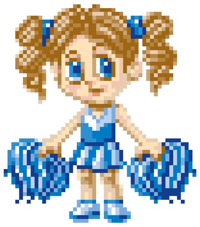 cheer leading: A cheerleader girl illustrated in an anime or manga style, rendered as pixel art  in art blocks   Each pixel block is editable, and the grey background is made of pixel blocks too