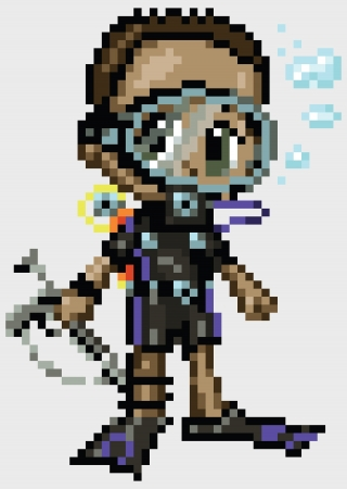 manga style: A scuba diver boy illustrated in an anime or manga style, rendered as pixel art  in blocks. Each pixel block is editable, and the grey background is made of pixel blocks too  Illustration