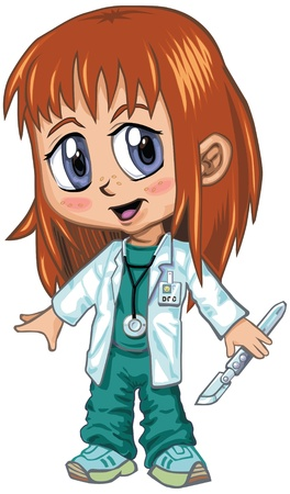 A red-haired girl wearing doctor s scrubs, drawn in an anime or manga style  She is in a  paper doll  pose, and has a stethoscope and a scalpel, which is removable if desired   Illustration