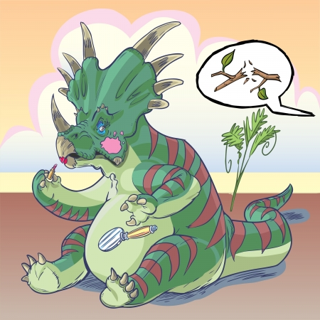 non: A self-conscious Styracosaurus dinosaur is applying makeup, and is suddenly startled by a twig snapping behind him, mortified that another dinosaur might see him. Makes for a great non sequitur or a concept about vanity, glamour, or gender roles. Illustration