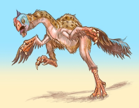flapping: The original angry bird. An agitated gigantoraptor dinosaur runs toward the viewer, flapping its wings or arms. A gigantoraptor is a large dinosaur with feathers. This is a raster graphics illustration done in a colored pencil style. Stock Photo