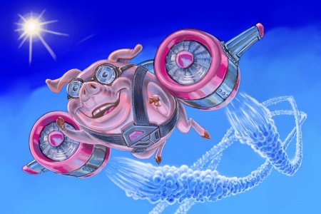 vapor trail: A happy flying pig with a jet pack rockets through the stratosphere leaving twin vapor trails. Now anything is possible! Rendered in a painterly cartoon style, this image can make an excellent humorous conceptual illustration.