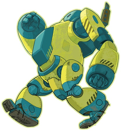 gait: A vector cartoon of a giant yellow robot walking forward with a lumbering gait  This robot looks like it was designed for construction purposes, and is seen from a low angle side view  Features a separate dirt or grime texture layer  Illustration