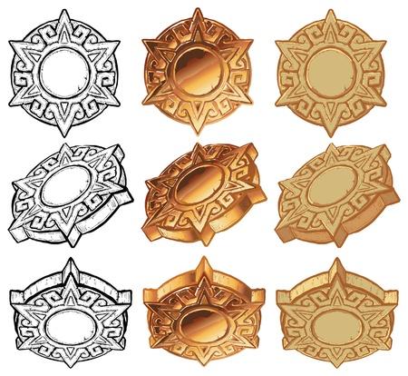 아즈텍 스타일 태양 메달, 벡터 아이콘을 설정합니다. 검은 색과 흰색, 메탈릭 골드, 돌 : 3 색 각의 변화에, 3 각도에서 보여 대형 그래픽 요소가 포