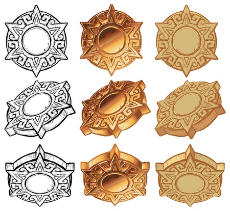 An aztec style sun medallion vector icon set. Includes the medallion graphic element shown from 3 angles, in 3 color variations of each: black and white, metallic gold, and stone. Ilustração