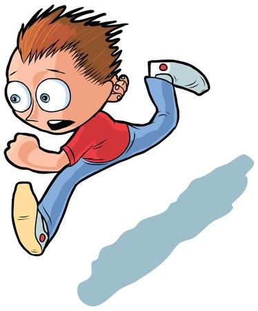 走っている少年の漫画。彼は彼の目的地に到達することを切望して見えます。