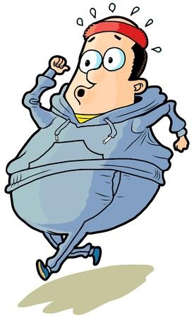 Cartone animato di un sovrappeso calvo uomo jogging. Archivio Fotografico - 20133963