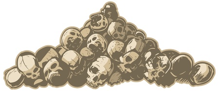 heap: illustration of pile of cracked and broken skulls. Makes a great