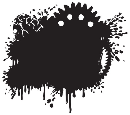 grind: Splatter and Gear Background Silhouette