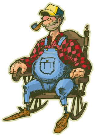 Een oudere man in een schommelstoel Stock Illustratie