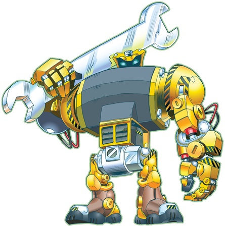 a giant tough-looking robot holding a wrench on its shoulder