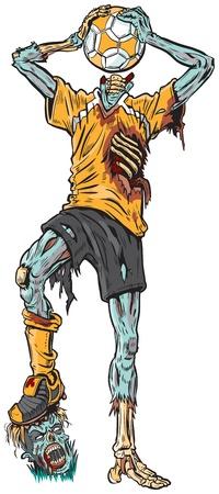 Vector cartoon illustratie van een rotte zombie voetballer die de bal heeft verward naar zijn vermiste hoofd.