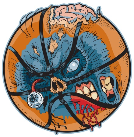 A Zombie Basketball Vector Cartoon! Color elements are in a seperate layer in the .eps for easy customization! Vectores