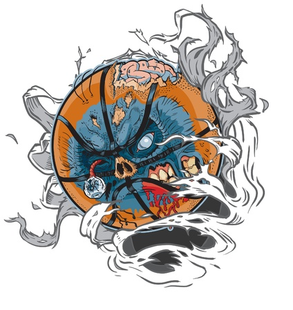 A Zombie Basketball Ripping out of the Background! All Important elements are in seperate layers in the .eps file for easy customization! Vector